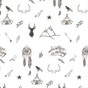 """4"""" Adventure is Calling Outdoors / Boho / White & Brown"""