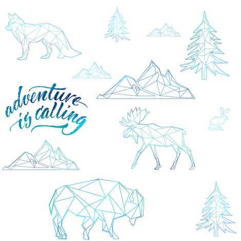 """8"""" ADVENTURE IS CALLING / WOODLAND FRIENDS / BLUE fabric by shopcabin on Spoonflower - custom fabric"""