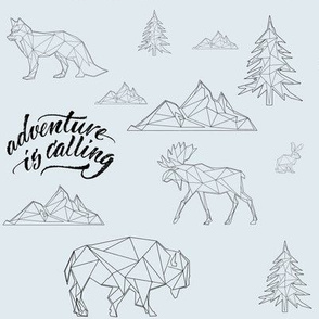 "8"" Adventure is Calling Woodland Friends / Blue & Chalkboard Black"
