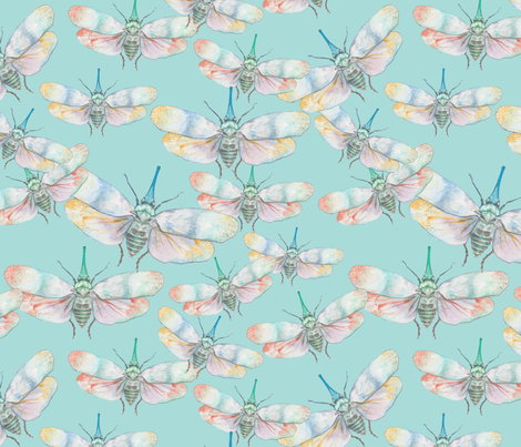 vibrant watercolour insect  fabric by kittywoodberry on Spoonflower - custom fabric