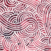 Red and white swirls doodles