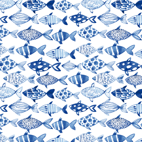 Watercolor fishes fabric by tasiania on Spoonflower - custom fabric