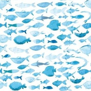 Light blue watercolor fishes