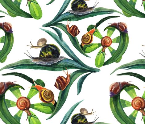 Garden snails fabric by nadiia_nemchenko on Spoonflower - custom fabric