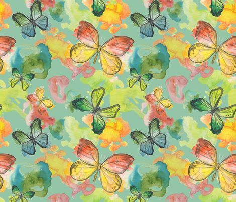 watercolor wings fabric by jackiejean on Spoonflower - custom fabric