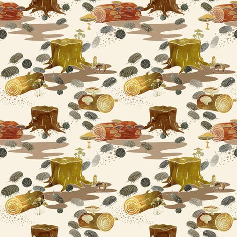 Woodlouse Wanderings fabric by bowerbirdhouse on Spoonflower - custom fabric