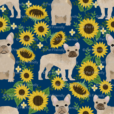 french bulldog sunflowers fabric floral dogs