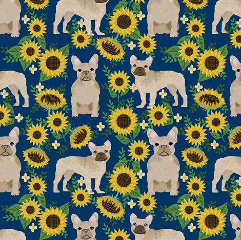 french bulldog sunflowers fabric floral dogs  fabric by petfriendly on Spoonflower - custom fabric