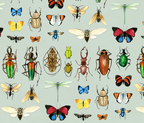 The Usual Suspects - insects on grey fabric by cecca on Spoonflower - custom fabric