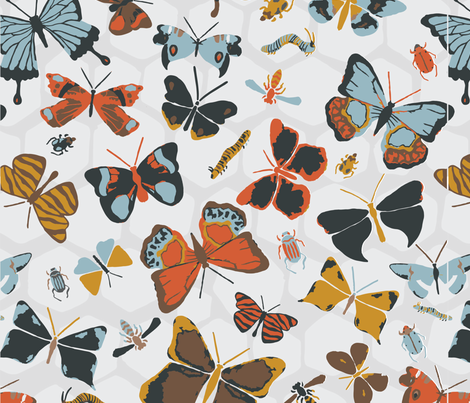 Watercolor_Insects2 fabric by maddieskaggs on Spoonflower - custom fabric