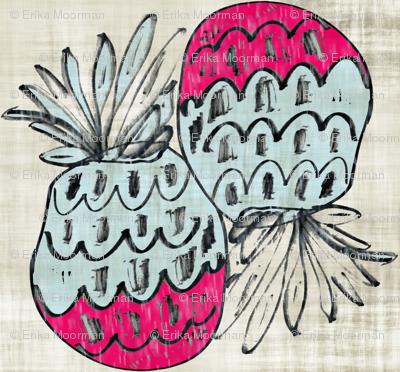 pineapple wave- vintage linen tropics 35