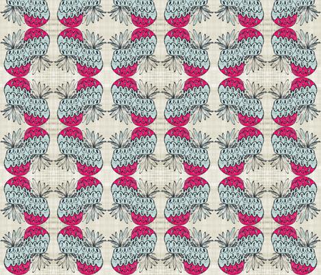 pineapple wave- vintage linen tropics 35 fabric by drapestudio on Spoonflower - custom fabric