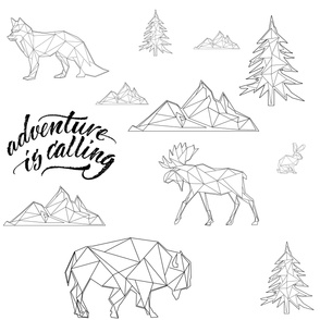 "8"" Adventure is Calling Woodland Friends / Black and White"