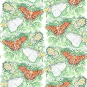 Three Butterflies Watercolor Stripe