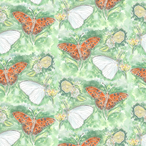 Three Butterflies Watercolor Allover fabric by eclectic_house on Spoonflower - custom fabric
