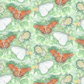 Three Butterflies Watercolor Allover