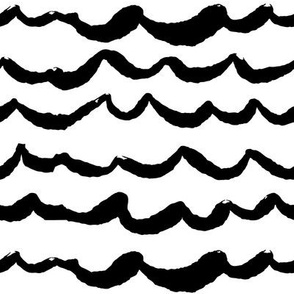 Playful Patterns - Waves of Wonder White/Black