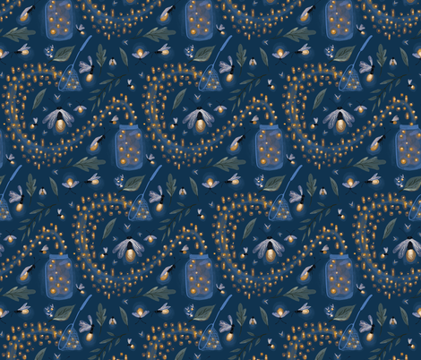 Catching Fireflies fabric by thestorysmith on Spoonflower - custom fabric