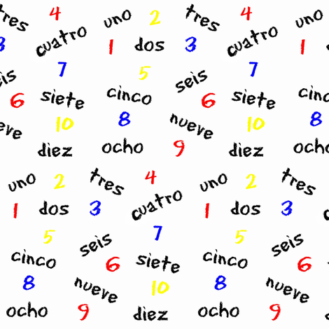 Numbers In Spanish Spanish Numbers Words And Primary Colors Fabric
