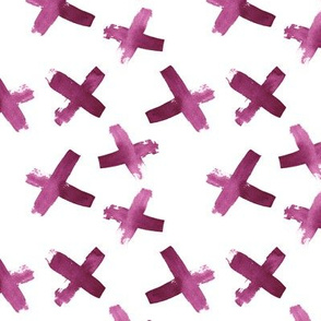 Magenta and White Watercolor Cross Pattern