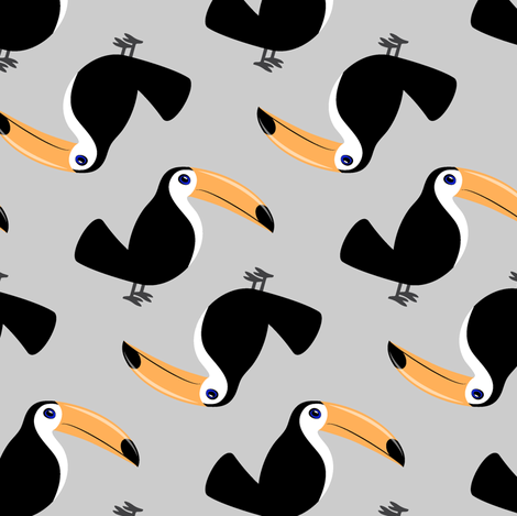 toucan - solid grey fabric by littlearrowdesign on Spoonflower - custom fabric