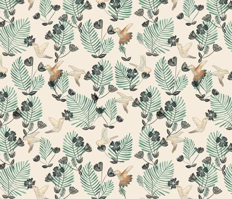 Hummingbird_Pattern fabric by ash_sta__teresa on Spoonflower - custom fabric