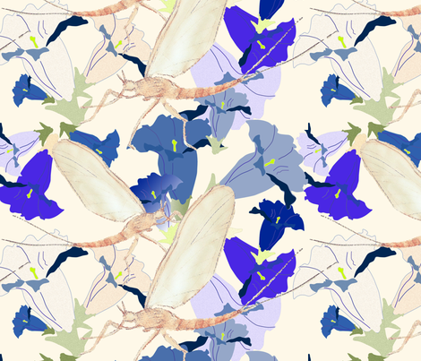 Dayfly Painting on Gentian Pattern fabric by herbal_things on Spoonflower - custom fabric