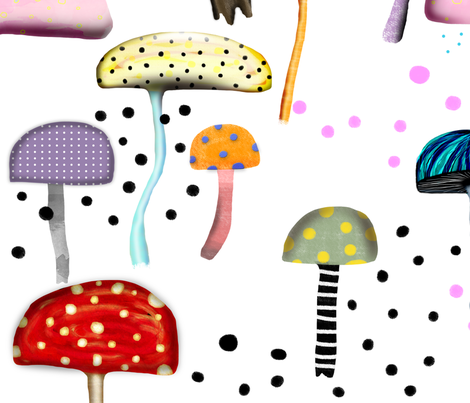 Mushrooms Background White fabric by rupydetequila on Spoonflower - custom fabric