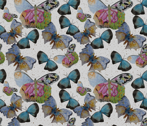 Watercolour Butterflies fabric by dragonfairy on Spoonflower - custom fabric