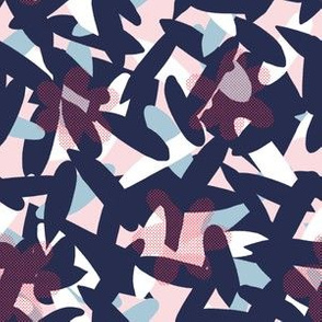 Abstract Flowers - Navy Blue and Pink