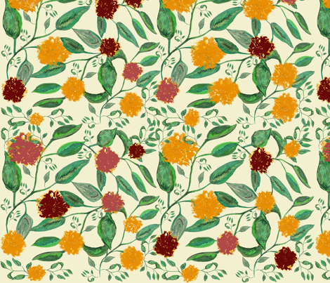 Fleurs jaunes et rouges fabric by pylabest on Spoonflower - custom fabric