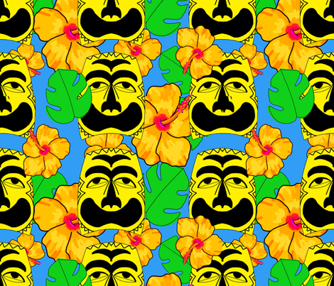 Tropical tiki blue fabric by beesocks on Spoonflower - custom fabric