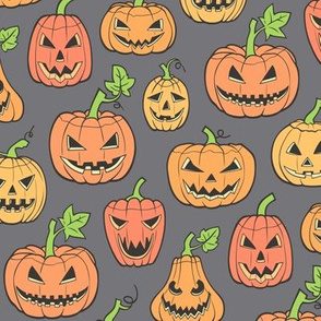 Halloween Jack-O-Lantern Scary Pumpkin  Fabric  Orange on Dark Grey