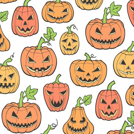 Halloween Jack O Lantern Scary Pumpkin Fabric Orange On