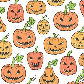 Halloween Jack-O-Lantern Scary Pumpkin Fabric  Orange on White