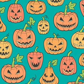 Halloween Jack-O-Lantern Scary Pumpkin Fabric  Orange on Green