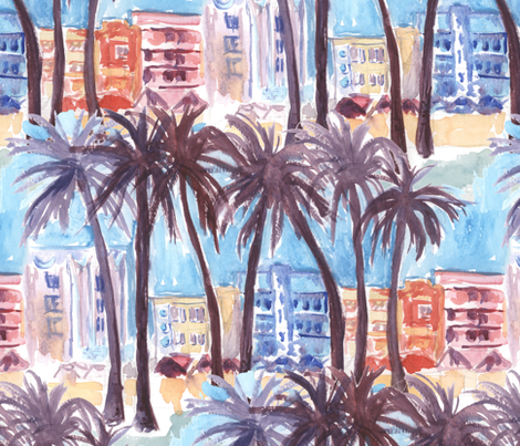 Miami Beach Watercolor fabric by eclectic_house on Spoonflower - custom fabric