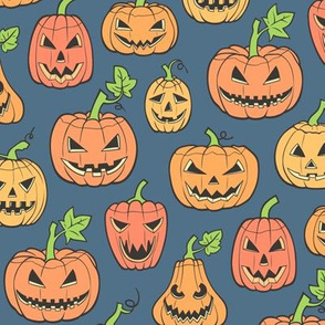 Halloween Jack-O-Lantern Scary Pumpkin Fabric  Orange on Dark Blue Navy