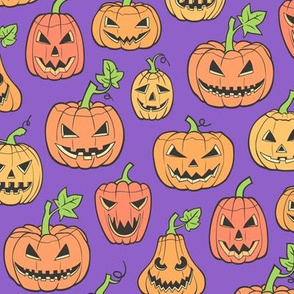 Halloween Jack-O-Lantern Scary Pumpkin Fabric  Orange on Purple