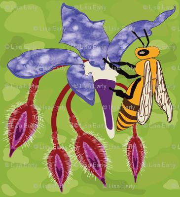 Bees on Borage Flowers