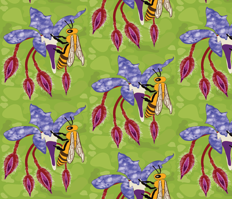 Bees on Borage Flowers  fabric by vanillabeandesigns on Spoonflower - custom fabric