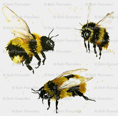 Watercolour bees on white