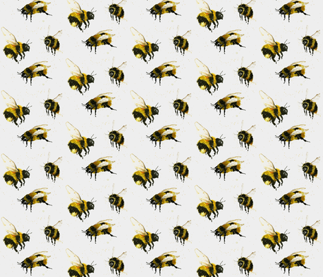 Watercolour bees on white fabric by bethramsden on Spoonflower - custom fabric
