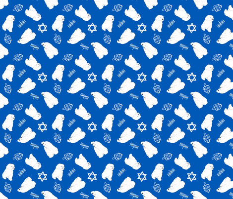 Tiny Maltese - Hanukkah fabric by rusticcorgi on Spoonflower - custom fabric