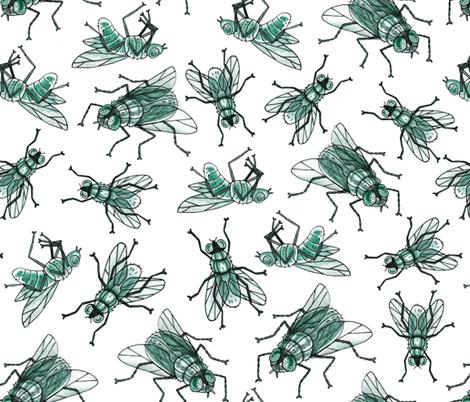 Green flies fabric by marta_strausa on Spoonflower - custom fabric
