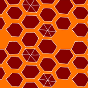 Hexies - orange/burgundy