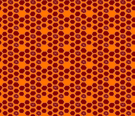 Hexies - orange/burgundy fabric by pennydog on Spoonflower - custom fabric