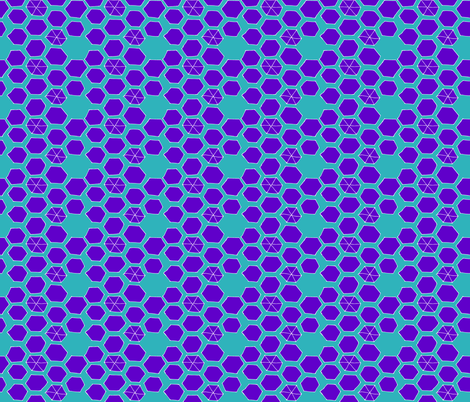Hexies - Teal / Periwinkle fabric by pennydog on Spoonflower - custom fabric
