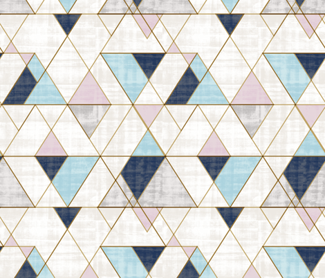 Mod Triangles Navy blue lilac - custom fabric by crystal_walen on Spoonflower - custom fabric