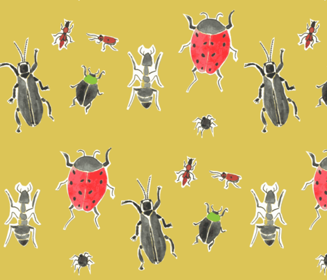 watercolor creepy crawlers fabric by ali*b on Spoonflower - custom fabric